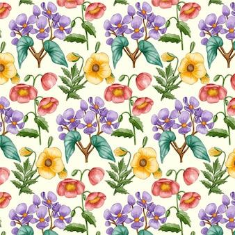 Motif floral aquarelle peint à la main