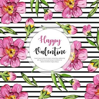 Motif floral aquarelle saint valentin