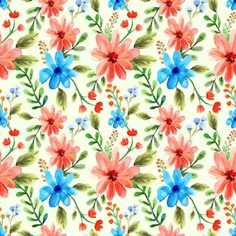 Motif floral aquarelle transparent bleu et orange pour le printemps et l'été
