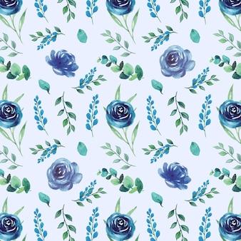 Motif floral aquarelle transparente avec de belles fleurs roses bleues