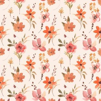 Motif floral aquarelle transparente avec terre cuite et fleur orange marron