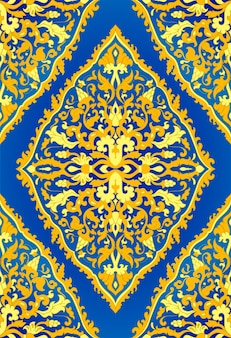 Motif floral bleu et jaune. ornement oriental en filigrane. modèle coloré pour textile, châle, tapis.
