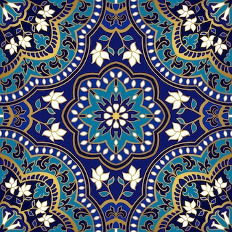 Motif floral bleu.