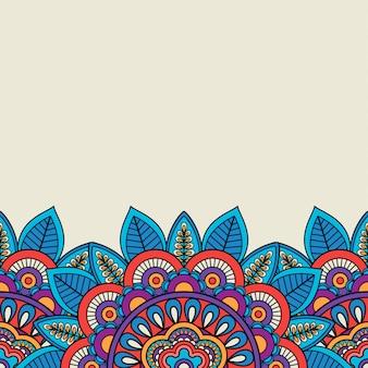 Motif floral et bordure de feuilles doodle
