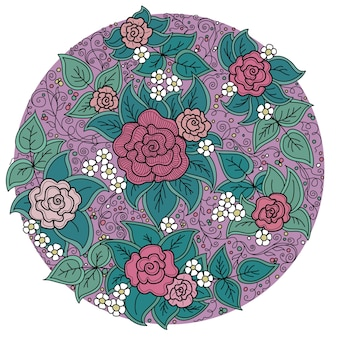 Motif floral de cercle vectoriel avec des roses et des feuilles
