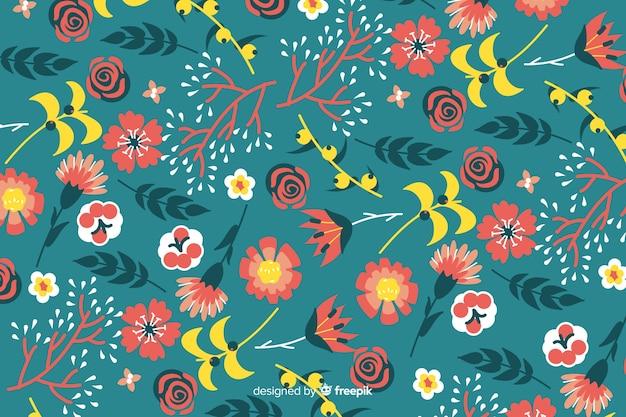 Motif floral coloré dessiné à la main