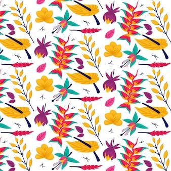 Motif floral coloré exotique peint à la main