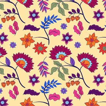 Motif floral coloré peint à la main