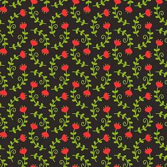 Motif floral dans les couleurs noires, rouges et vertes. fond transparent avec des fleurs fantaisie.