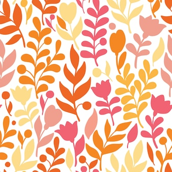 Motif floral dans le style doodle avec fleurs et feuilles