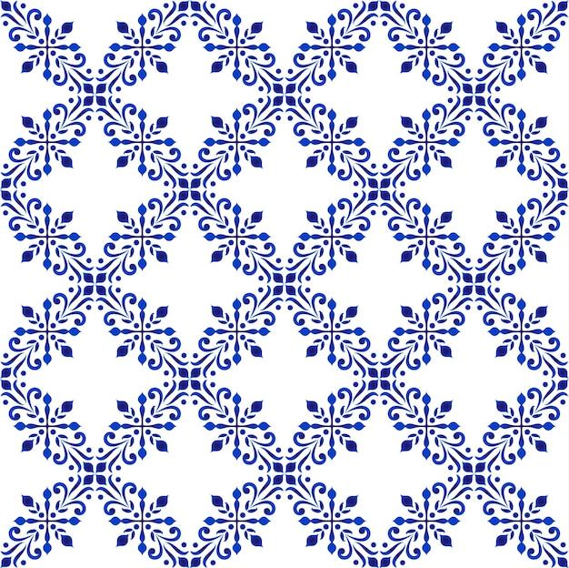 Motif floral décoratif bleu et blanc, fond de porcelaine