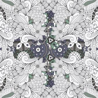 Motif floral décoratif contour couleur gris