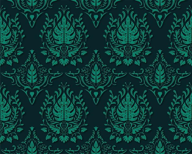 Motif floral décoratif décoratif vert mat