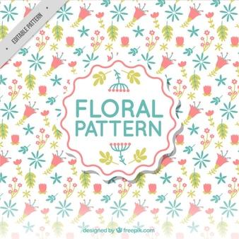 Motif floral décoratif en design plat