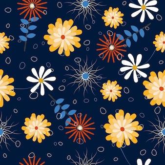 Motif floral dessiné main abstraite sans soudure