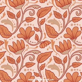 Motif floral dessiné à la main dans le style vintage