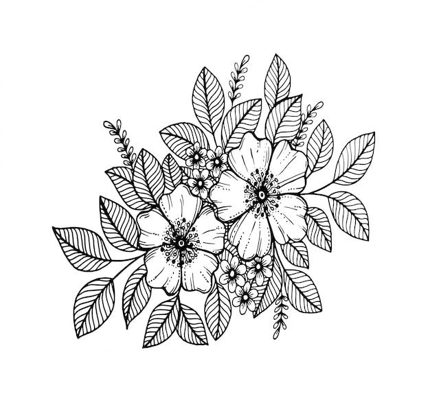Motif floral doodle en noir et blanc, dessin à la main