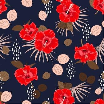 Motif floral exotique d'hibiscus belle vectorielle continue, fond de l'été