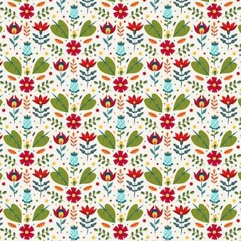 Motif floral exotique peint à la main coloré