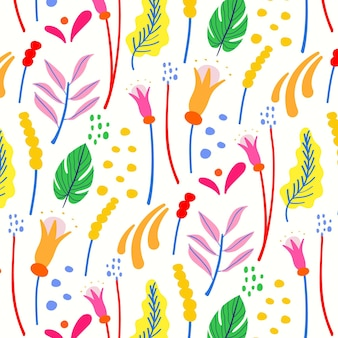 Motif floral exotique peint à la main
