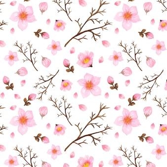 Motif floral avec des fleurs de cerisier japonais