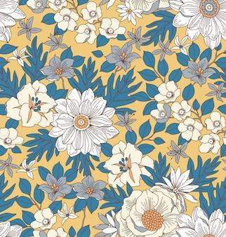 Motif floral avec des fleurs dessinées à la main.