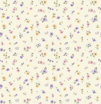 Motif floral fleurs mignonnes fond blanc impression de petites fleurs pastel imprimé ditsy