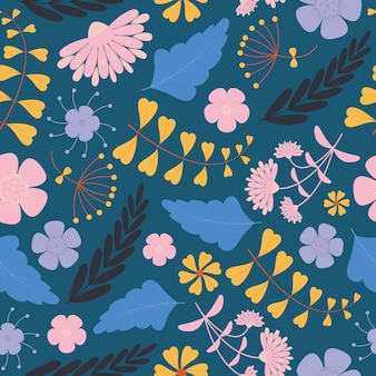 Motif floral avec des fleurs roses et violettes