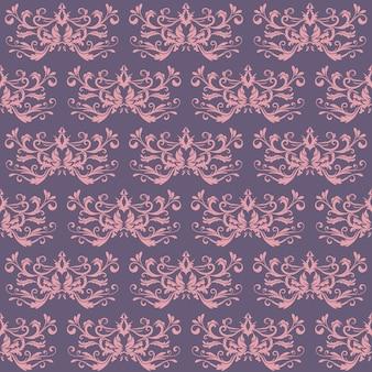 Motif floral. fond d'écran baroque, damassé. arrière-plan vectorielle continue. ornement rose et violet