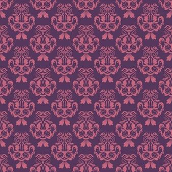 Motif floral. fond d'écran baroque, damassé. arrière-plan vectorielle continue. ornement violet et rose