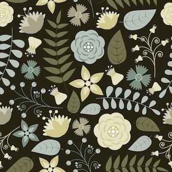 Motif floral avec sur fond sombre