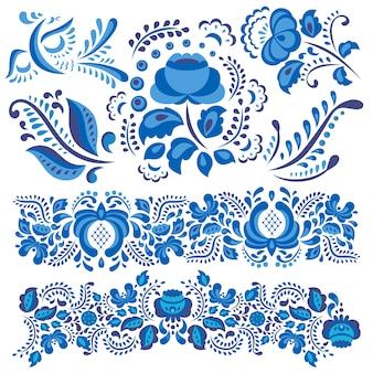 Motif floral de gjel en style russe traditionnel et fleurs et feuilles ornées en bleu