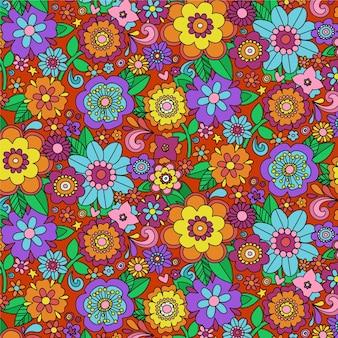 Motif floral groovy coloré