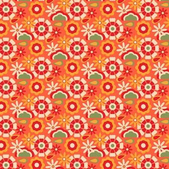 Motif floral groovy dessiné à la main