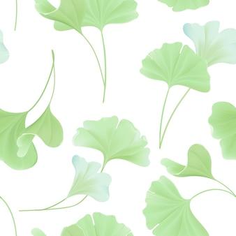 Motif floral harmonieux de feuilles de gingko biloba japonais, texture vert pastel vintage pour la conception, impression de tissu, papier peint en vecteur