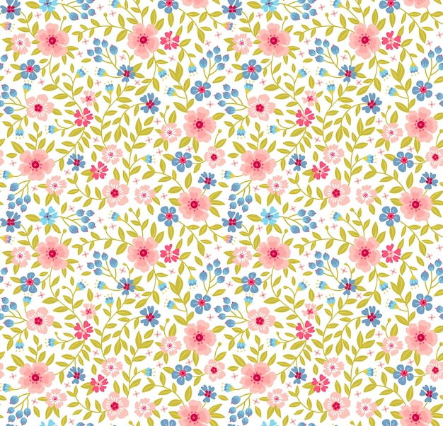 Motif floral. jolies fleurs sur fond blanc. impression de petites fleurs bleues et roses. imprimé ditsy. texture transparente. bouquet de printemps.
