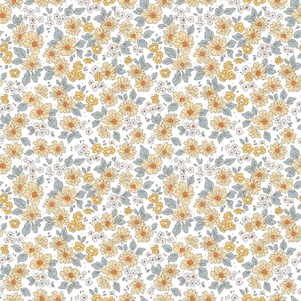 Motif floral jolies fleurs fond blanc impression de petites fleurs jaunes imprimé petites fleurs