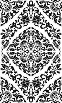 Motif floral médiéval fond noir et blanc.