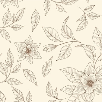 Motif floral monochrome dessiné à la main