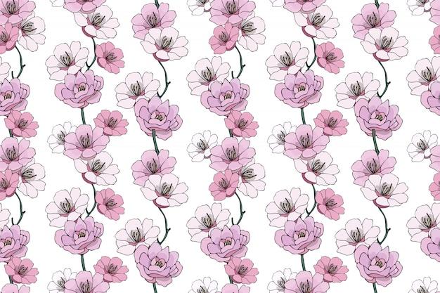 Motif floral naturaliste sans soudure isolé de vecteur.