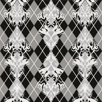 Motif floral en niveaux de gris