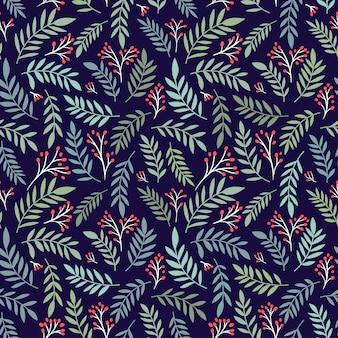 Motif floral de noël avec branche de baies et feuilles