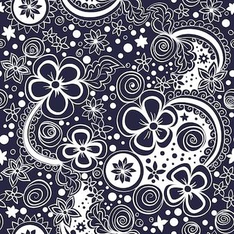 Motif floral noir et blanc sans soudure de vecteur