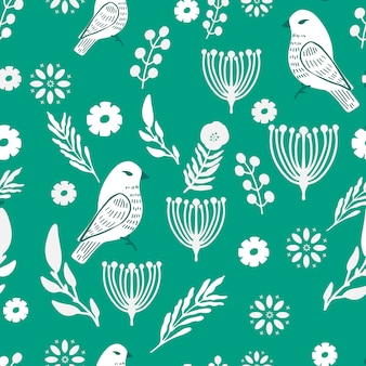 Motif floral et oiseaux simple et amusant.