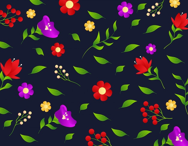 Motif floral avec petites fleurs et feuilles