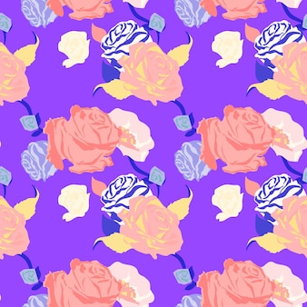 Motif floral de printemps rose avec fond violet roses