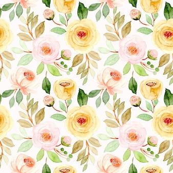 Motif floral sans couture aquarelle jaune rose doux