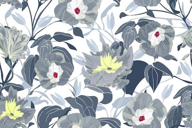 Motif floral sans couture d'art. fleurs, branches et feuilles de gloire grise du matin.