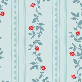 Motif floral sans couture avec bande abstraite.