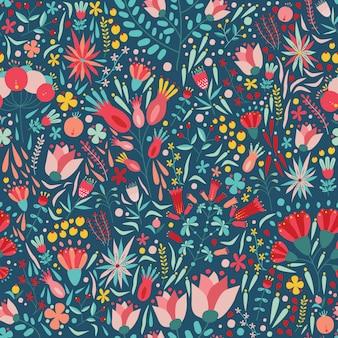 Motif floral sans couture avec de belles fleurs colorées en fleurs sur fond sombre. toile de fond avec de magnifiques plantes à fleurs d'été. illustration pour impression textile, papier d'emballage, papier peint.